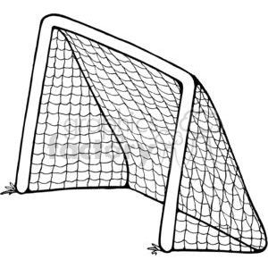 cartoon black white goal soccer net