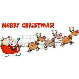 cartoon funny illustration Christmas santa sleigh