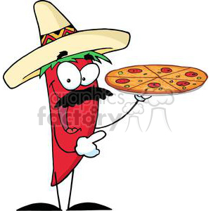 cartoon funny illustration pizza pepper