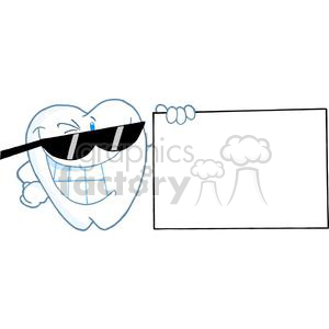 2930-Smiling-Tooth-Cartoon-Character-Presenting-A-Blank-Sign clipart. Commercial use image # 380280