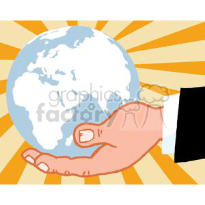 2819-Bussines-Hand-Holding-Globe clipart. Royalty-free image # 380285