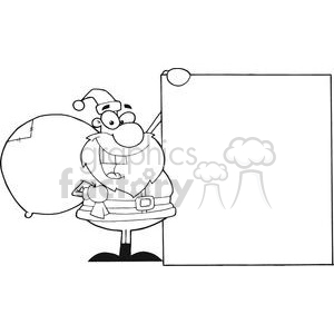 3016-Christmas-Santa-Clause-Presenting-A-Blank-Sign clipart. Commercial use image # 380295