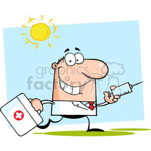 2905-Doctor-Running-With-A-Syringe-And-Bag clipart. Royalty-free image # 380320