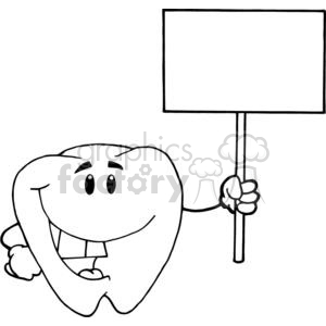 2961-Smiling-Tooth-Cartoon-Character-Holding-A-Blank-White-Sign clipart. Royalty-free image # 380330