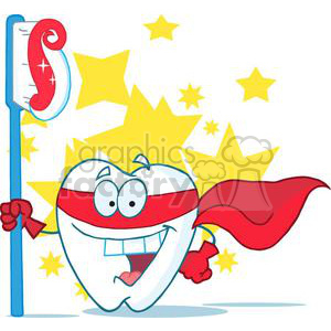 2978-Smiling-Superhero-Tooth-With-Toothbrush clipart. Commercial use image # 380340