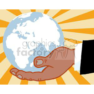 2820-African-American-Bussines-Hand-Holding-Globe clipart. Royalty-free image # 380360