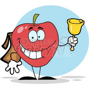 2853-Happy-Apple-Ringing-A-Bell-For-Back-To-School clipart. Royalty-free image # 380365