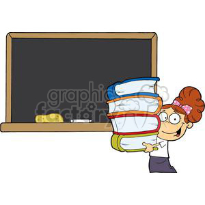 2999-Student-Girl-With-Books-In-Front-Of-School-Chalk-Board clipart. Royalty-free image # 380385