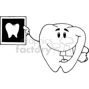 2958-Smiling-Tooth-Cartoon-Character-With-X-ray-Picture clipart. Royalty-free image # 380405