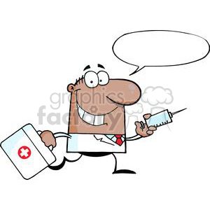 2907-African-American-Doctor-Running-With-A-Syringe-And-Bag clipart. Royalty-free image # 380410