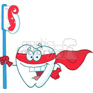 2977-Smiling-Superhero-Tooth-With-Toothbrush clipart. Royalty-free image # 380415
