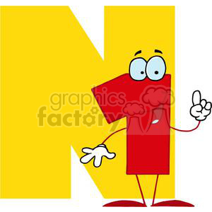 2758-Funny-Cartoon-Alphabet-N clipart. Commercial use image # 380435
