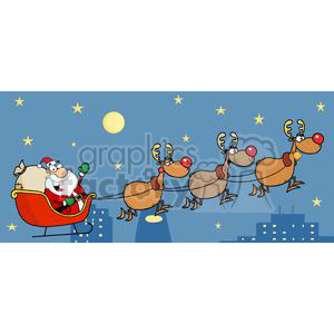 Christmas Santa Sleigh And Reindeer clipart. Commercial use image # 380445