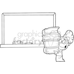 2998-Student-Girl-With-Books-In-Front-Of-School-Chalk-Board clipart. Commercial use image # 380455