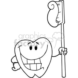2923-Happy-Smiling-Tooth-With-Toothbrush clipart. Royalty-free image # 380475