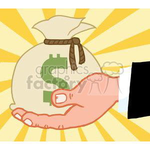 2822-Bussines-Hand-Holding-Money-Bag clipart. Commercial use image # 380480