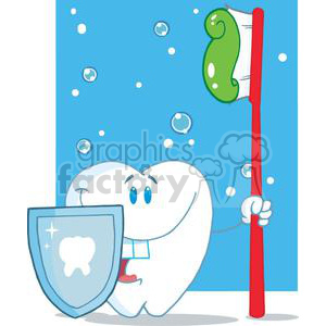 2936-Happy-Smiling-Tooth-With-Toothbrush-And-Shield clipart. Royalty-free image # 380490