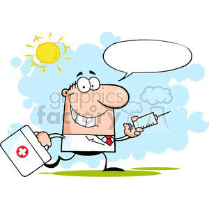 2904-Doctor-Running-With-A-Syringe-And-Bag clipart. Royalty-free image # 380500