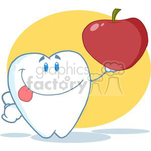 2945-Smiling-Tooth-Cartoon-Character-Holding-Up-A-Apple clipart. Royalty-free image # 380505