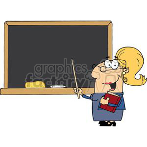 2990-School-Woman-Teacher-With-A-Pointer-Displayed-On-Chalk-Board clipart. Royalty-free image # 380525