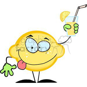 Cartoon Lemon Holding A Glass With Lemonade clipart. Commercial use image # 380535