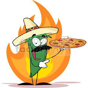 2895-Sombrero-Chile-Pepper-Holds-Up-Pizza clipart. Royalty-free image # 380555