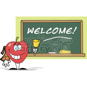 2879-Apple-Ringing-A-Bell-In-Front-A-School-Chalk-Board-With-Text-Welcome! clipart. Commercial use image # 380560