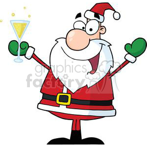 cartoon vector occasions funny Santa+Claus Christmas cheers drinking xmas