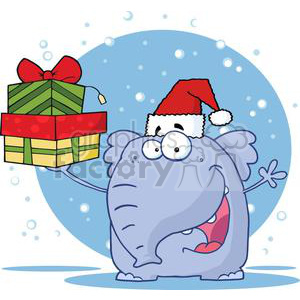 3292-Happy-Christmas-Elephant-Holds-Up-Gifts clipart. Commercial use image # 380579