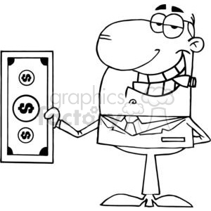 3188-Businessman-Shows-Big-Dollar clipart. Royalty-free image # 380589