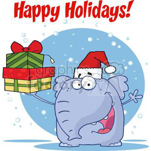 3293-Happy-Christmas-Elephant-Holds-Up-Gifts clipart. Royalty-free image # 380604