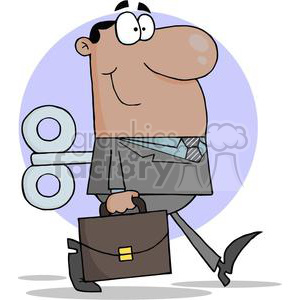 3249-African-American-Businessman-With-Wind-up-Key-In-His-Back clipart. Commercial use image # 380624