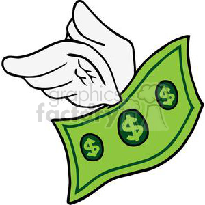flying cartoon dollar clipart. Commercial use image # 380644