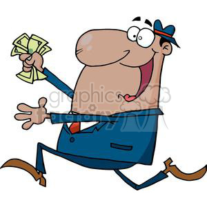 man running with a handful of cash clipart. Commercial use image # 380649