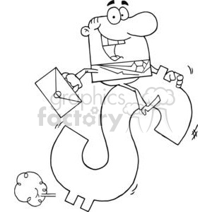 3282-Successful-Businessman-Riding-On-A-Dollar-Symbol clipart. Commercial use image # 380654