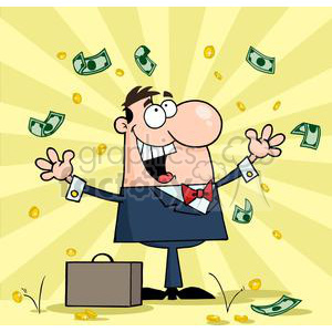 3195-Happy-Businessman-With-Money clipart. Royalty-free image # 380674