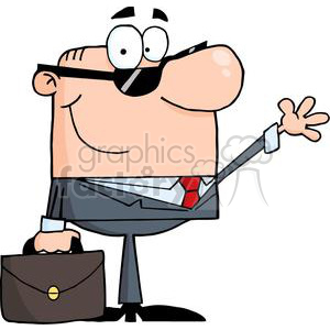 3236-Friendly-Businessman-Waving-A-Greeting clipart. Royalty-free image # 380699
