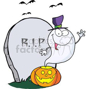 3228-Ghost-Waving-From-Pumpkin-Near-Tombstone-And-Bats clipart. Commercial use image # 380704