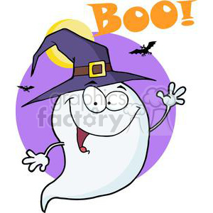 Happy ghost saying Boo on Halloween clipart. Royalty-free image # 380709