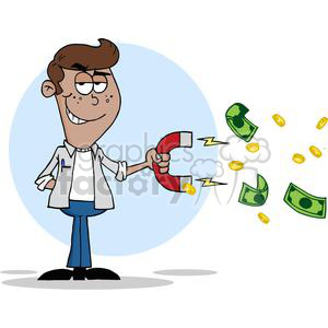 teenager collecting money using a big magnet clipart. Commercial use image # 380714