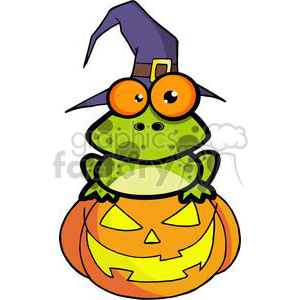 3222-Frog-With-A-Witch-Hat-In-Pumpkin clipart. Commercial use image # 380749