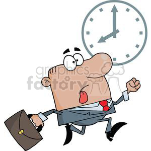 3252-African-American-Businessman-Being-Late clipart. Commercial use image # 380759