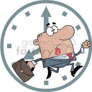 Businessman late for work clipart. Commercial use image # 380764