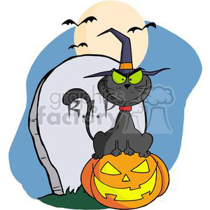 3226-Halloween-Cat-on-Pumpkin-Near-Tombstone-And-Bats-A-Full-Moon clipart. Royalty-free image # 380769