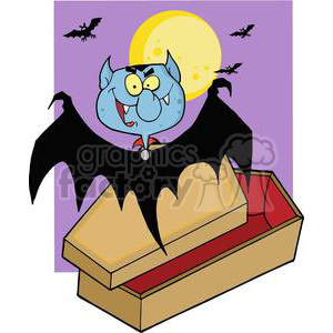 3213-Happy-Vampire-Out-Of-The-Coffin-And-Bats-Near-A-Full-Moon clipart. Royalty-free image # 380774