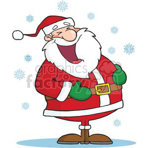 3426-Laughing-Santa-Claus-In-The-Snow clipart. Royalty-free image # 380820