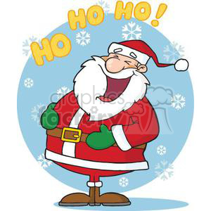 happy Santa Claus saying Ho Ho Ho clipart. Royalty-free image # 380840