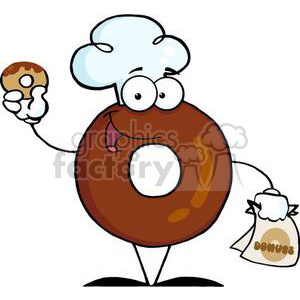 3479-Friendly-Donut-Cartoon-Character-Holding-A-Donut clipart. Royalty-free image # 380850
