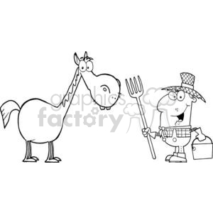 3370-Male-Farmer-With-Horse clipart. Royalty-free image # 380855