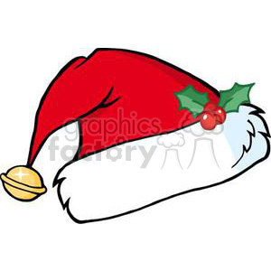 Santas Hat With Christmas Holly clipart. Commercial use image # 380860